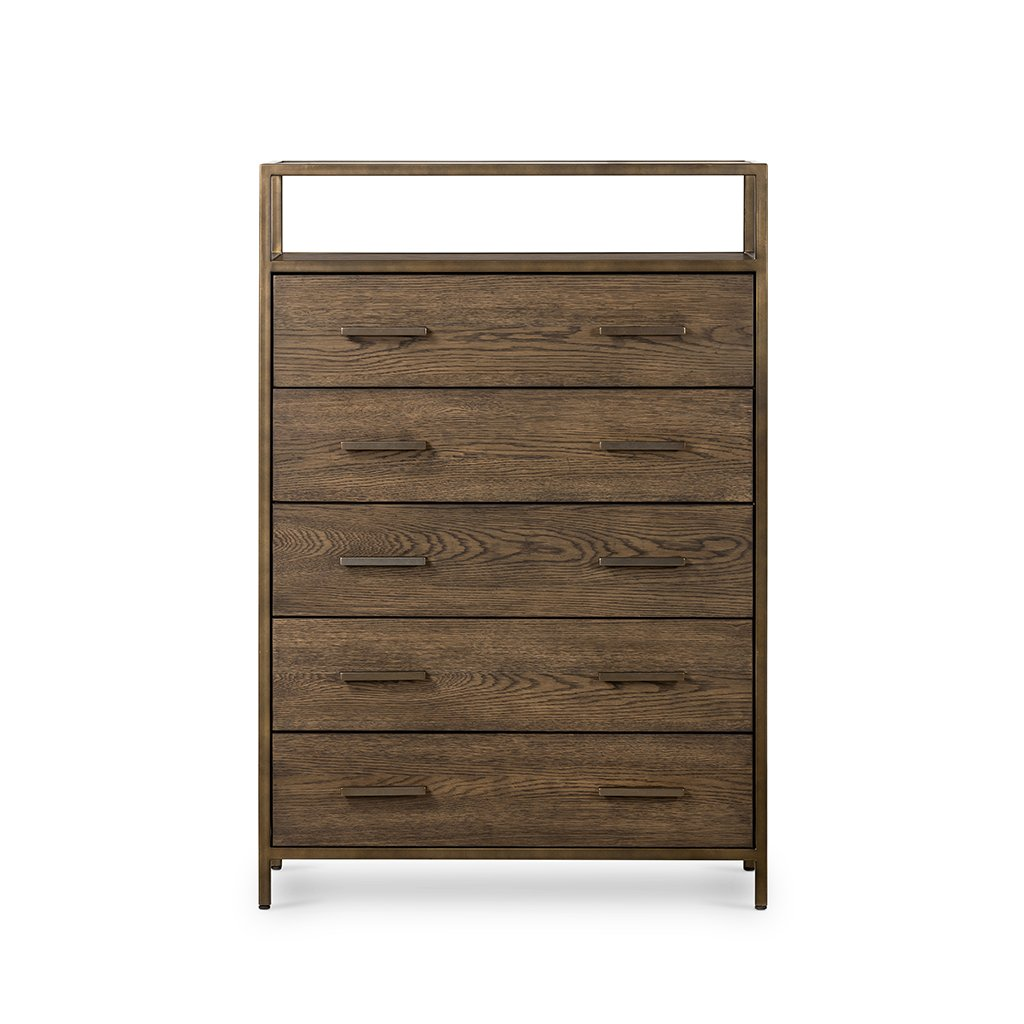 Mason 5 Drawer Oak Dresser Four Hands VHDN-018 Front View
