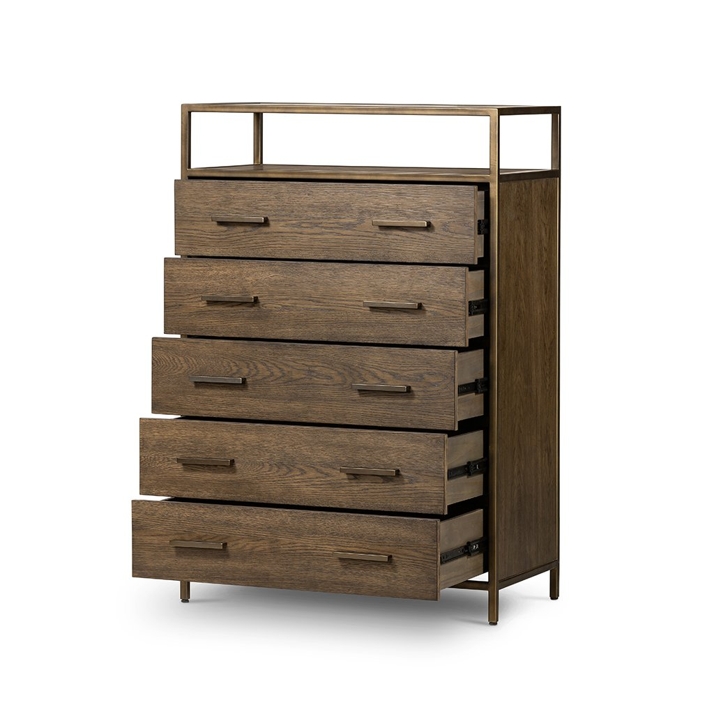 Mason 5 Drawer Oak Dresser Four Hands VHDN-018 Drawers Open view