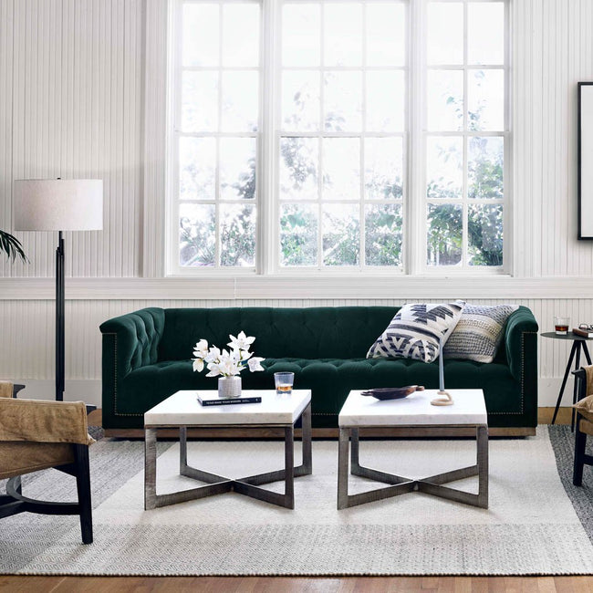 emerald green sofa
