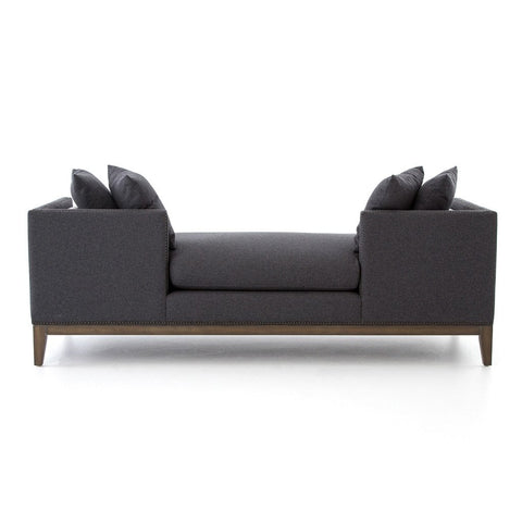 Mercury Double Chaise Sofa Felt Upholstery and Bronze Nailheads