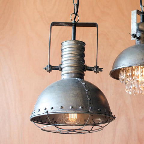Metal caged pendant chandelier