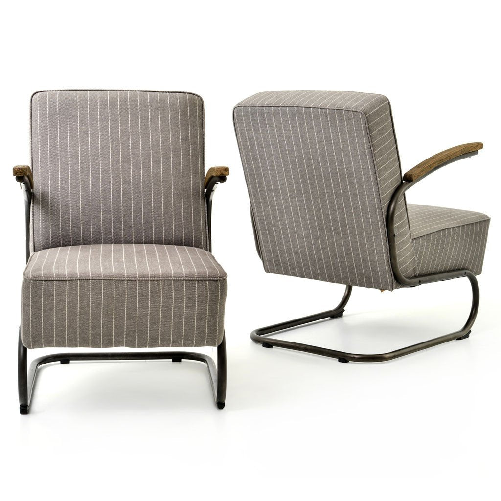 Miles arm chairs - grey twill
