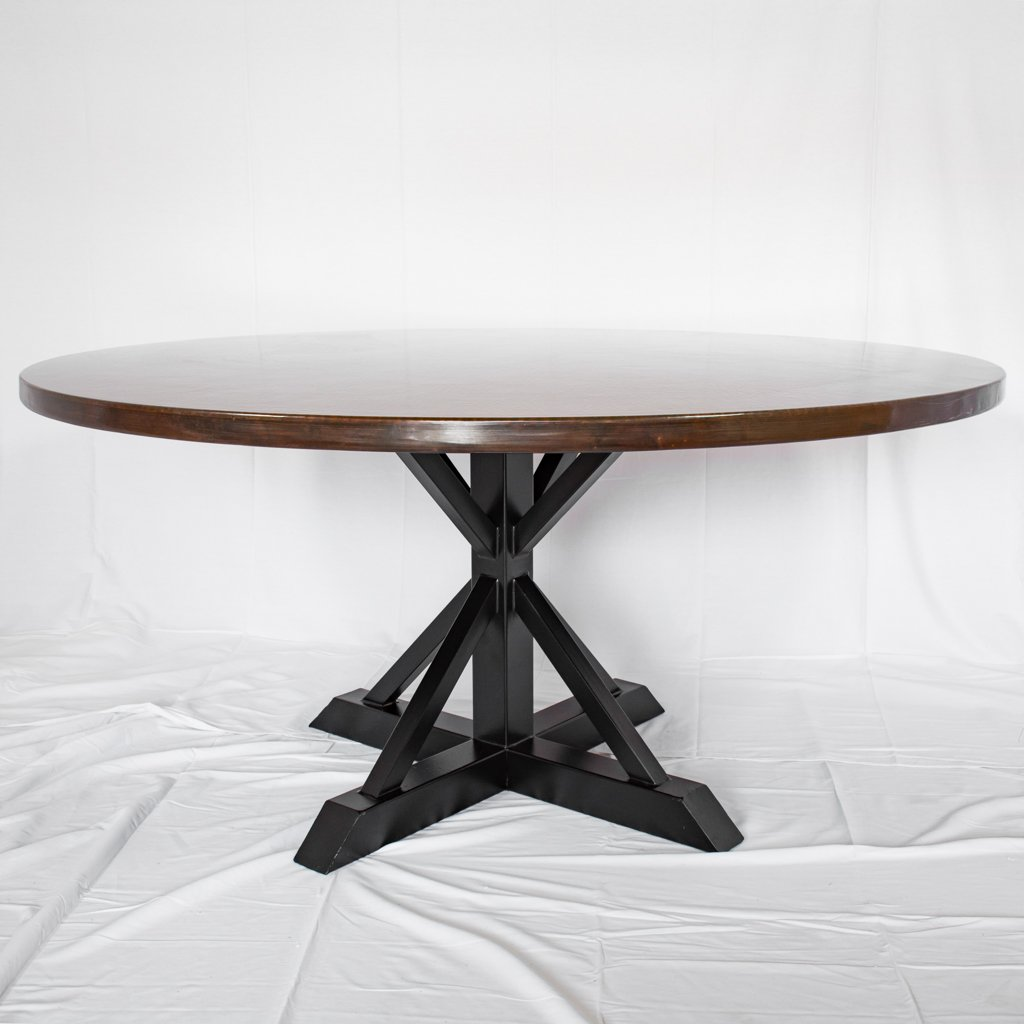Miners copper top dining table dark copper finish