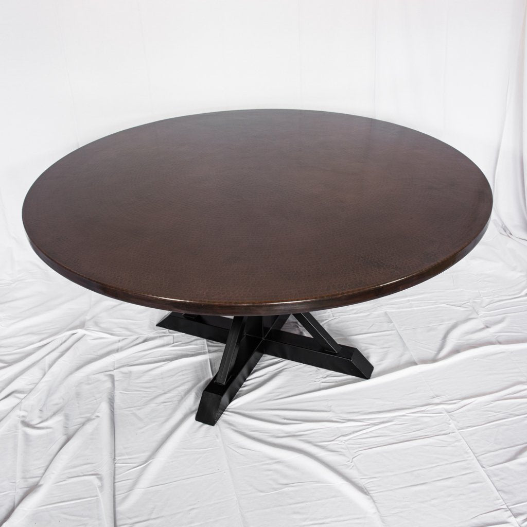copper top dining table iron base