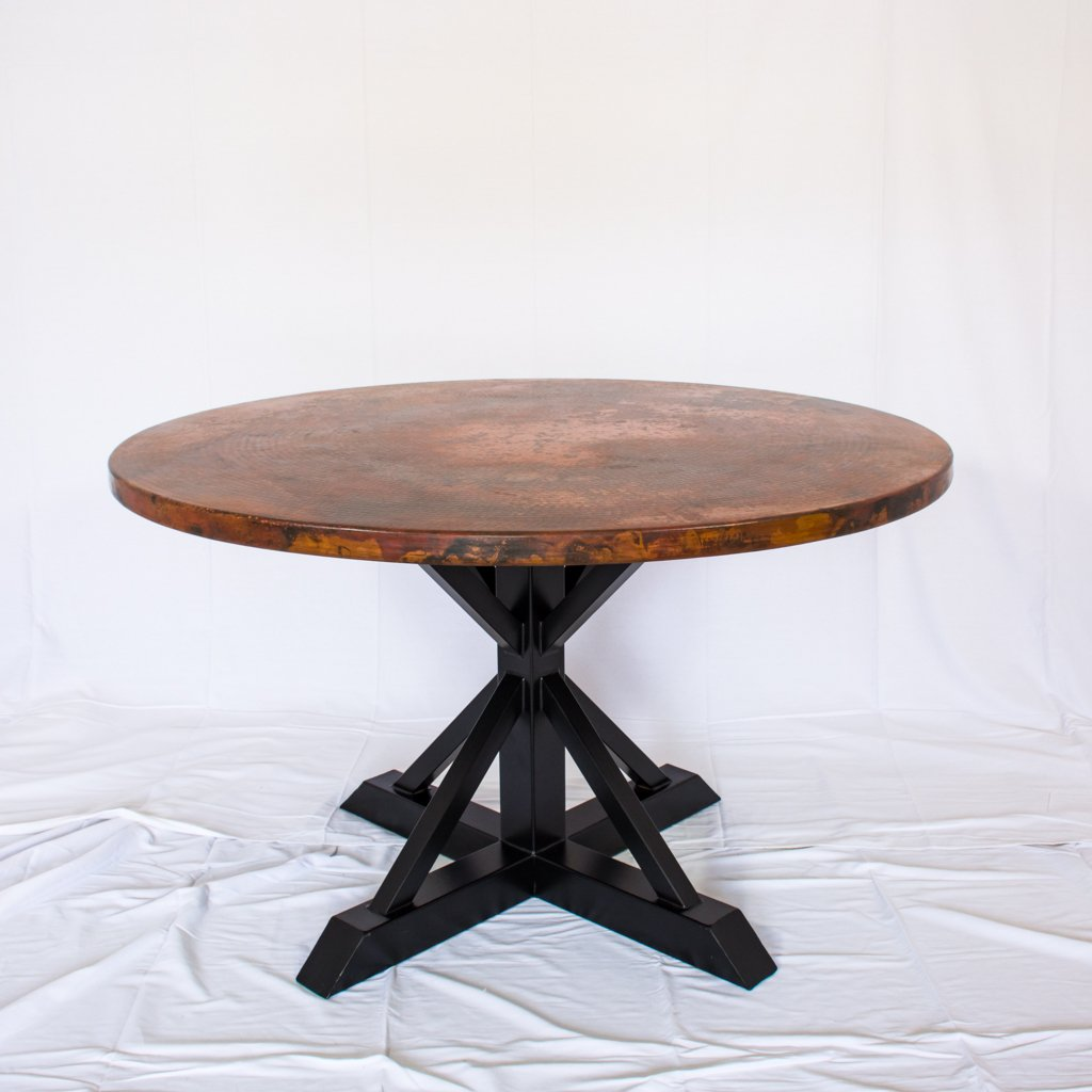 copper and iron round dining table