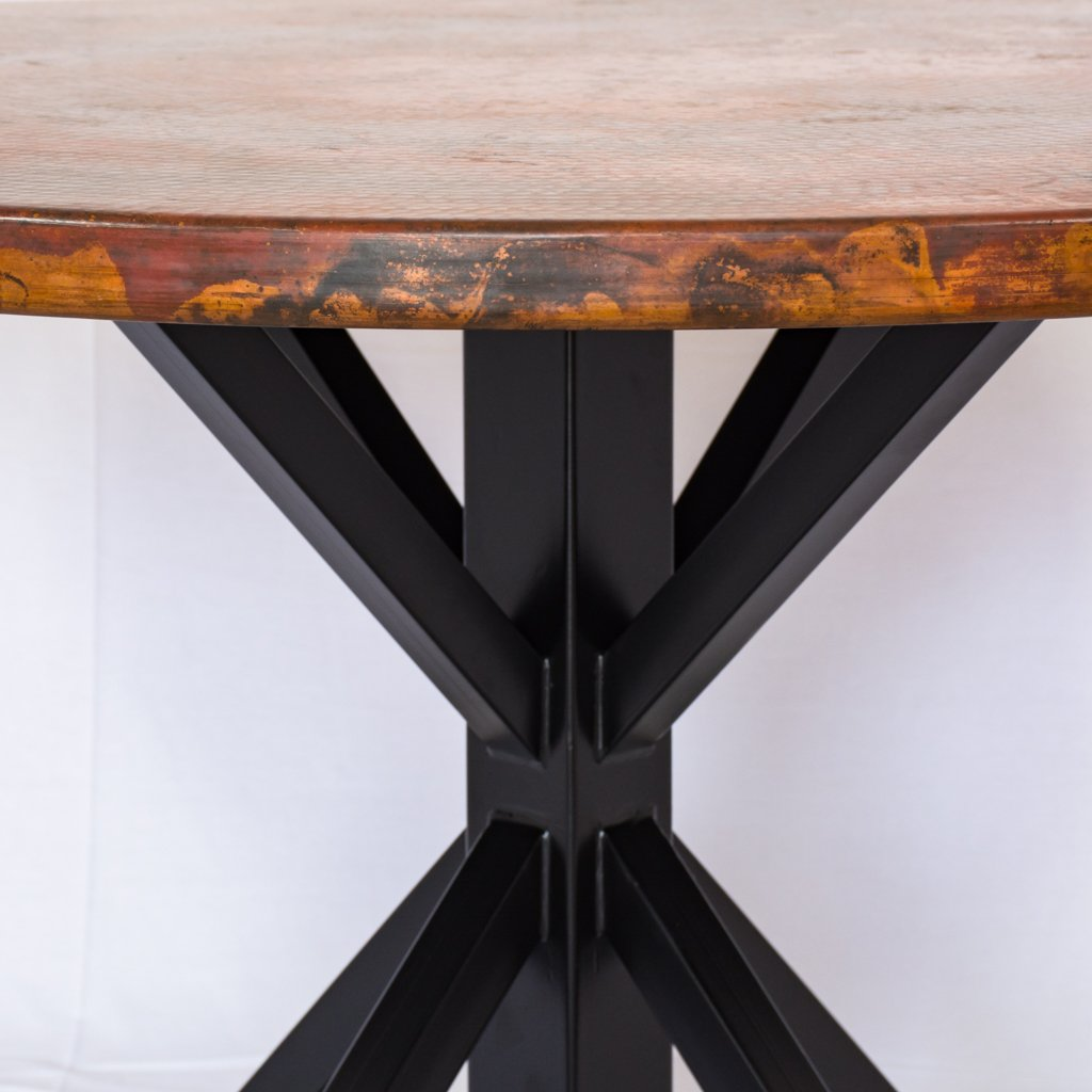 miners black and copper dining table