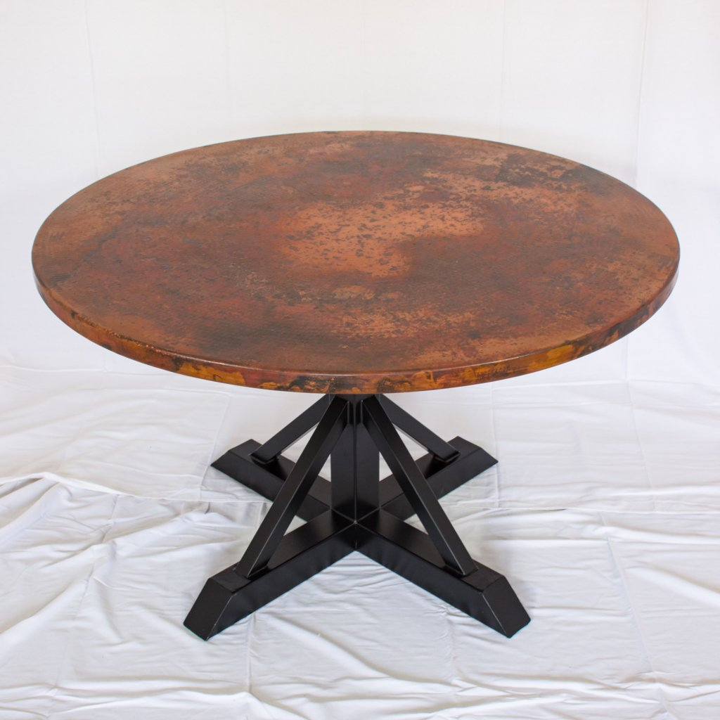 miners dining table natural copper finish black iron base