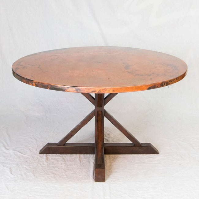 Miners Copper Top Dining Table with Iron Base- Natural Finish