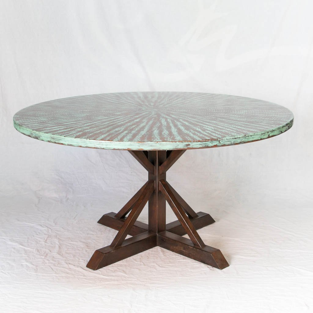 Miners Copper Top Dining Table - Weathered Penny Finish – Artesanos ...