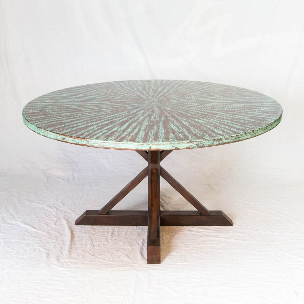Miners Copper Top Dining Table - Weathered Penny Finish