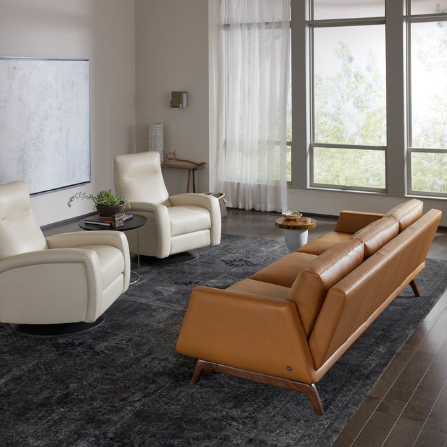 Nash Leather Sofa by American Leather Bison Butterscotch