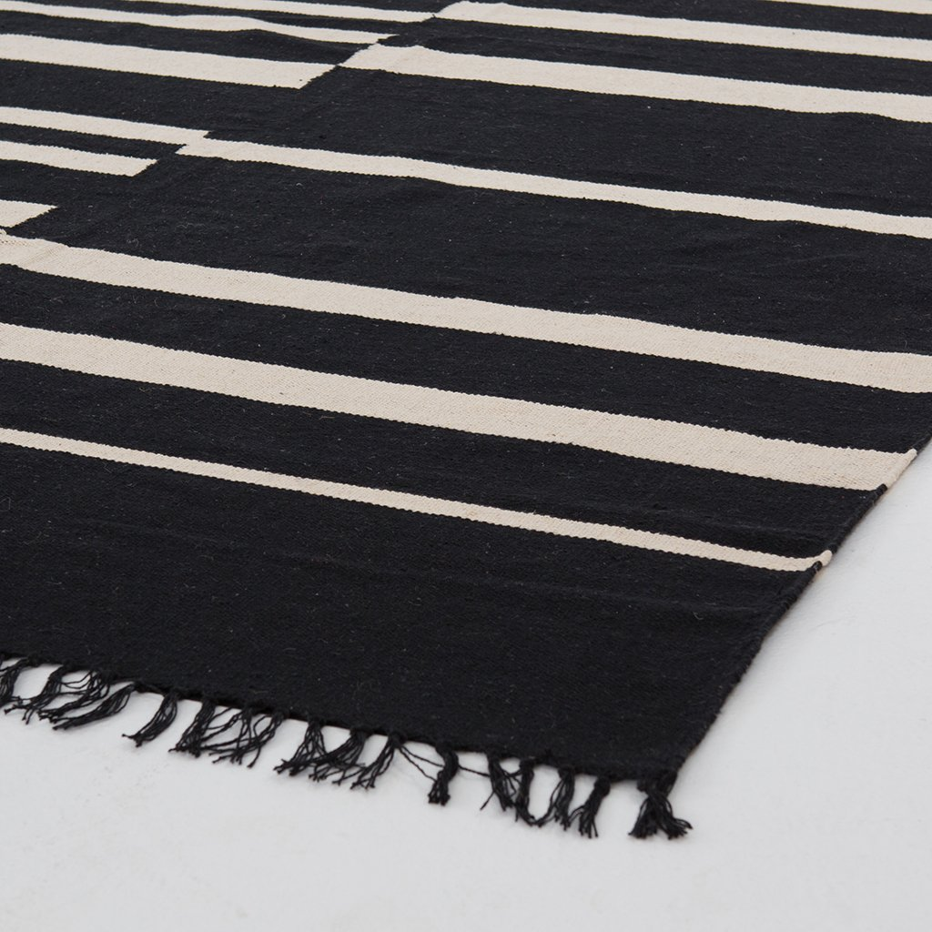 Offset Black Stripe Cotton Rug Four Hands