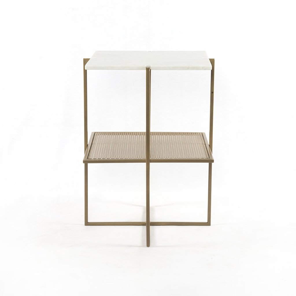 Front View Olivia Nightstand Brass and Marble IMAR-150