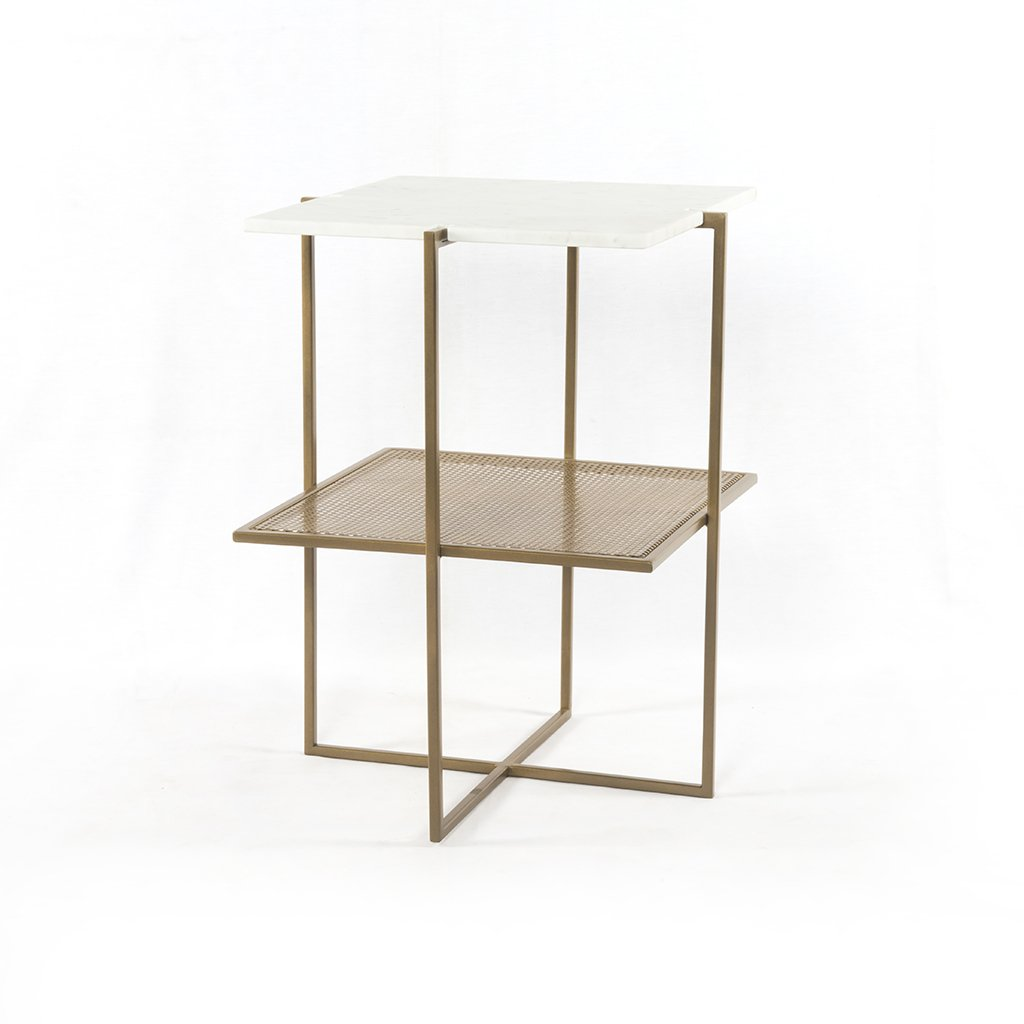 Olivia Nightstand Brass and Marble IMAR-150