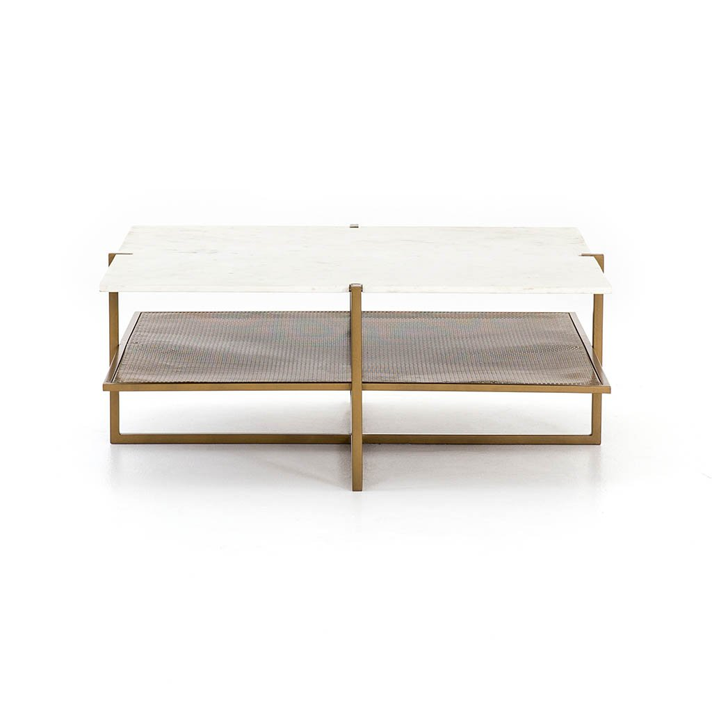 Olivia Square Coffee Table White Marble IMAR-189 Four Hands