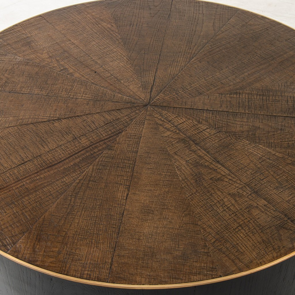 Perry Coffee Table - Ebony Bright Brass Ring Detail