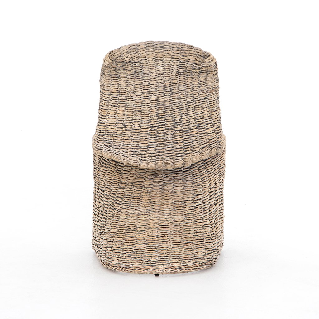 Portia Modern Wicker Dining Chair - Grey Wash Back View