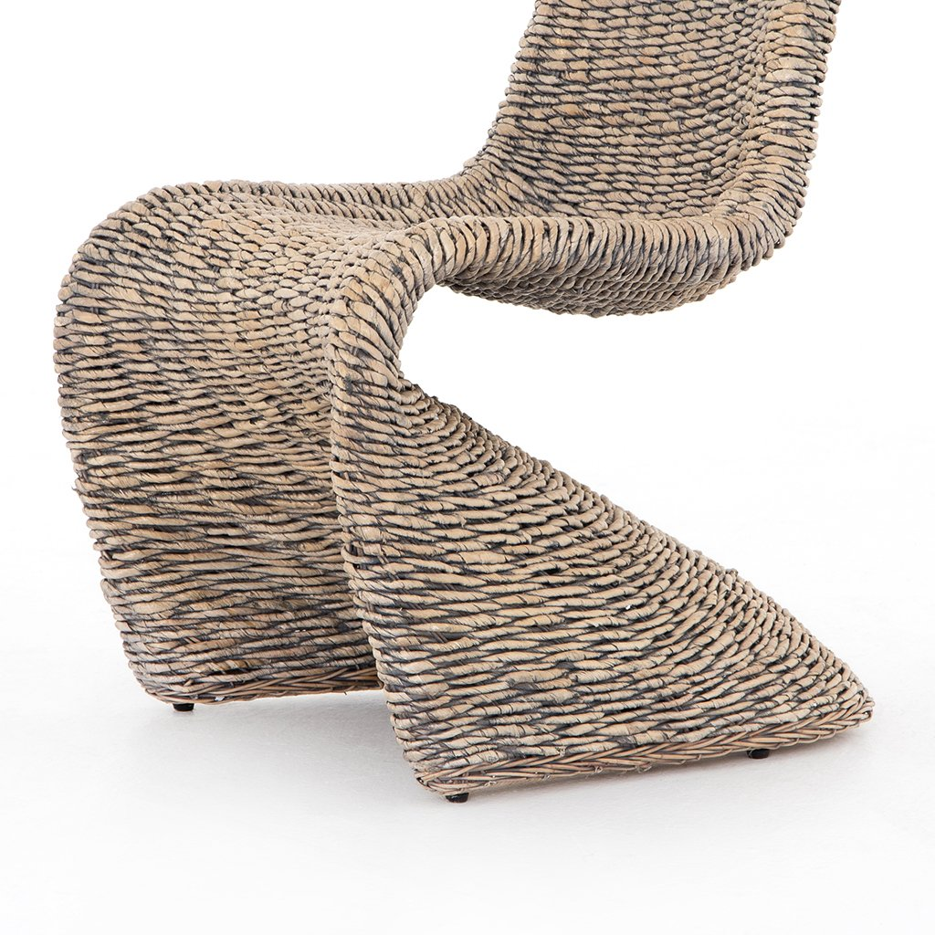 Portia Modern Wicker Dining Chair - Grey Wash Seat View