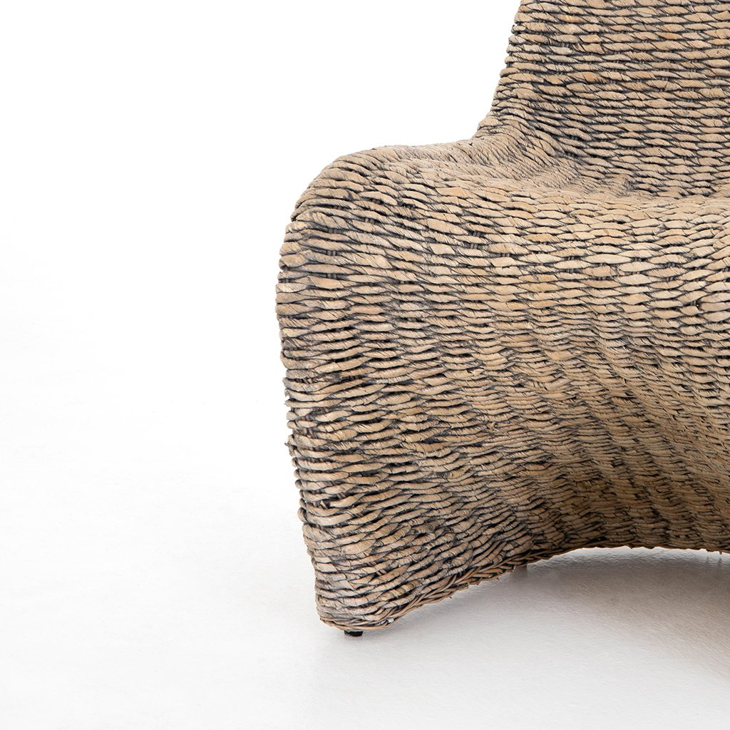 Portia Modern Wicker Dining Chair - Grey Wash Seat Detail