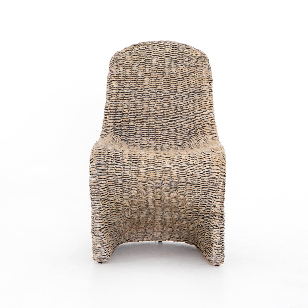 Portia Modern Wicker Dining Chair - Grey Wash Front View