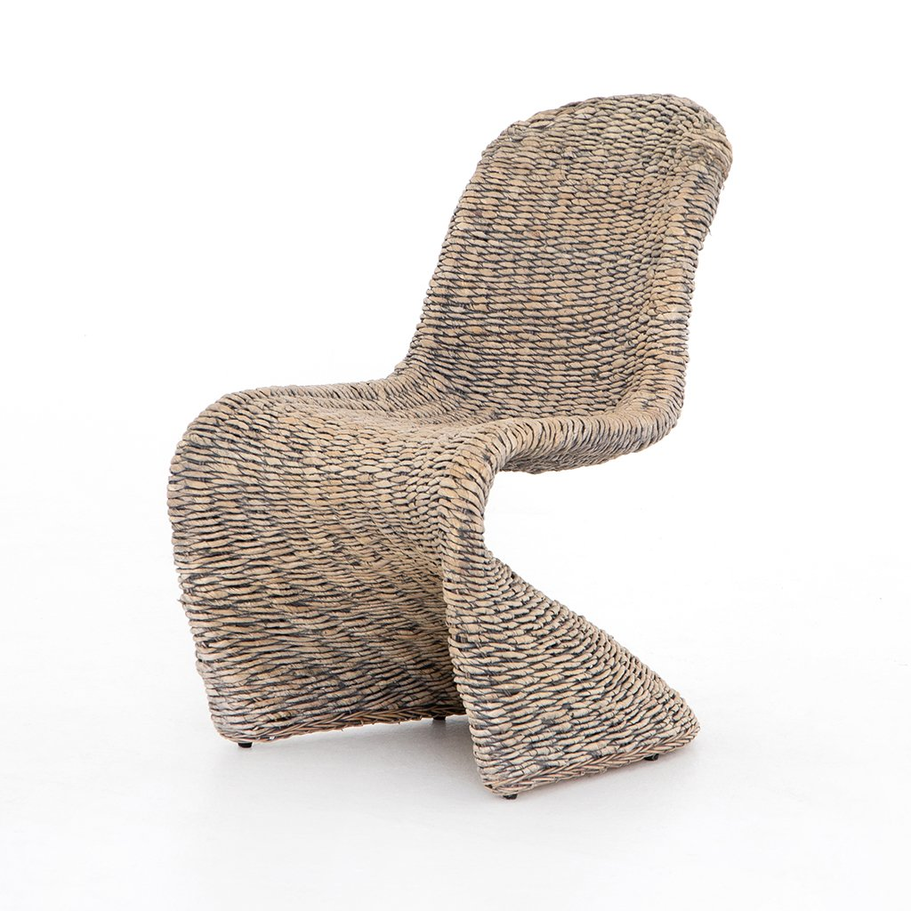 Portia Modern Wicker Dining Chair - Grey Wash Four Hands