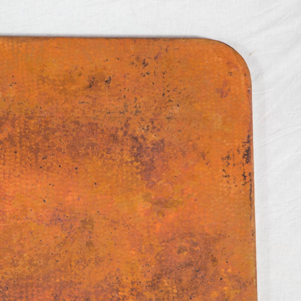 copper dining tabletop rectangle with rounded corners