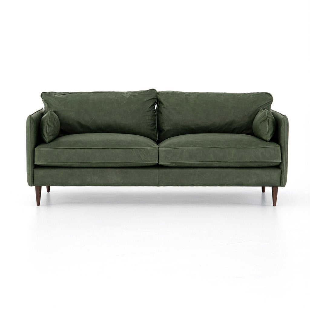 Reese Green Leather Sofa - Eden Sage Front View