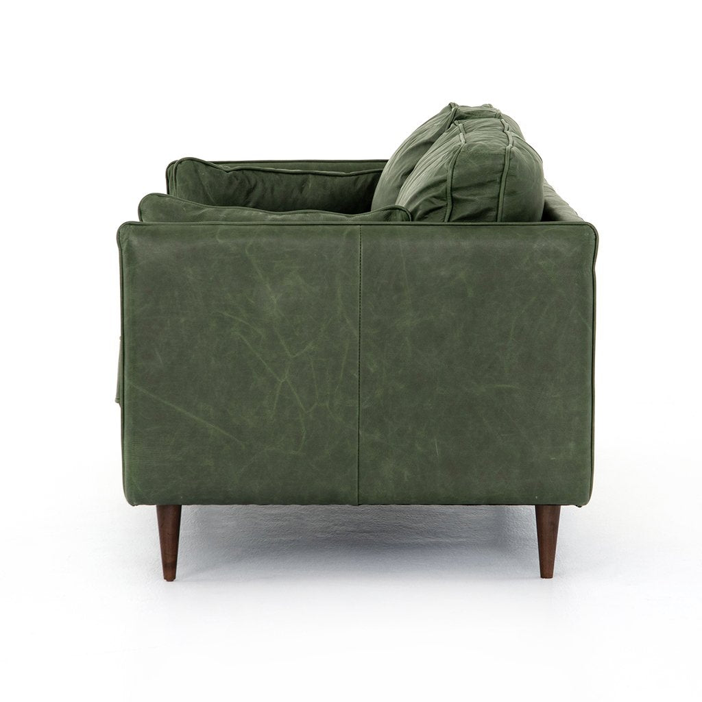 Reese Green Leather Sofa - Eden Sage Side View