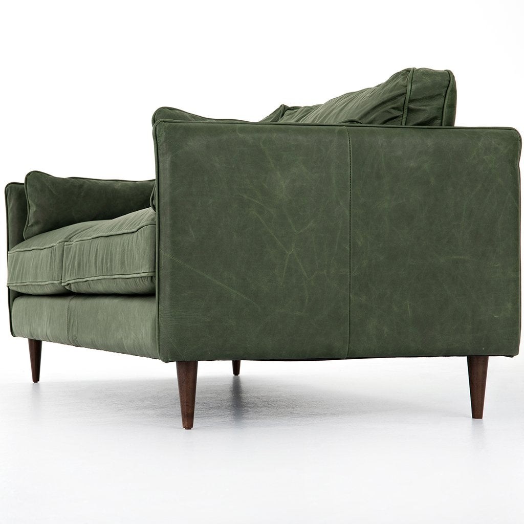 Reese Green Leather Sofa - Eden Sage Corner View