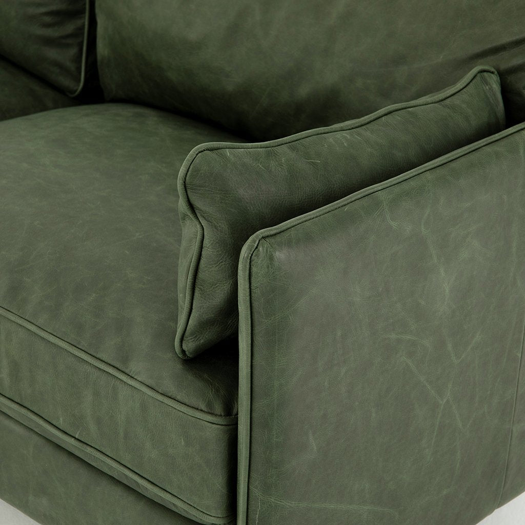 Reese Green Leather Sofa - Eden Sage Arm Detail