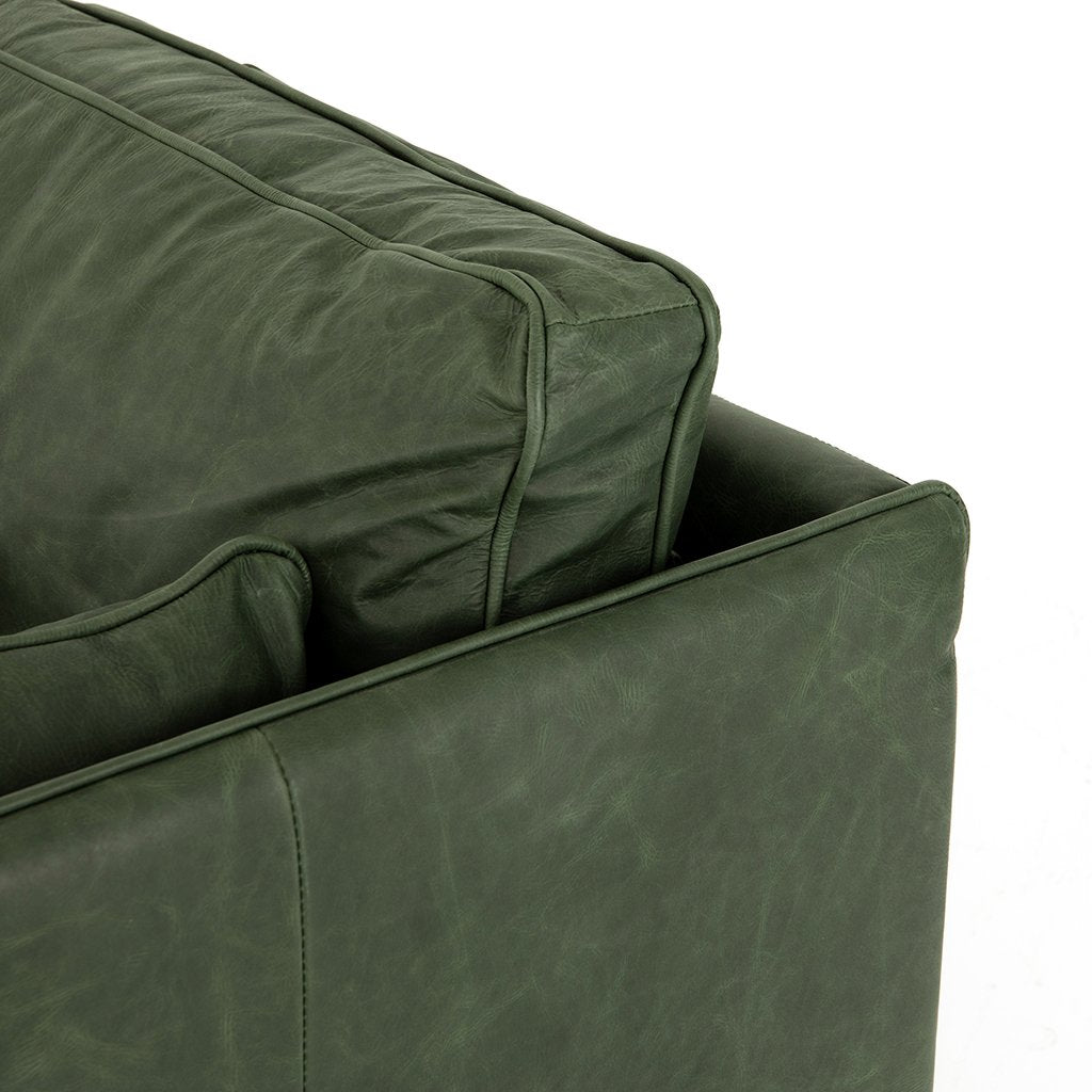 Reese Green Leather Sofa - Eden Sage Cushion Detail