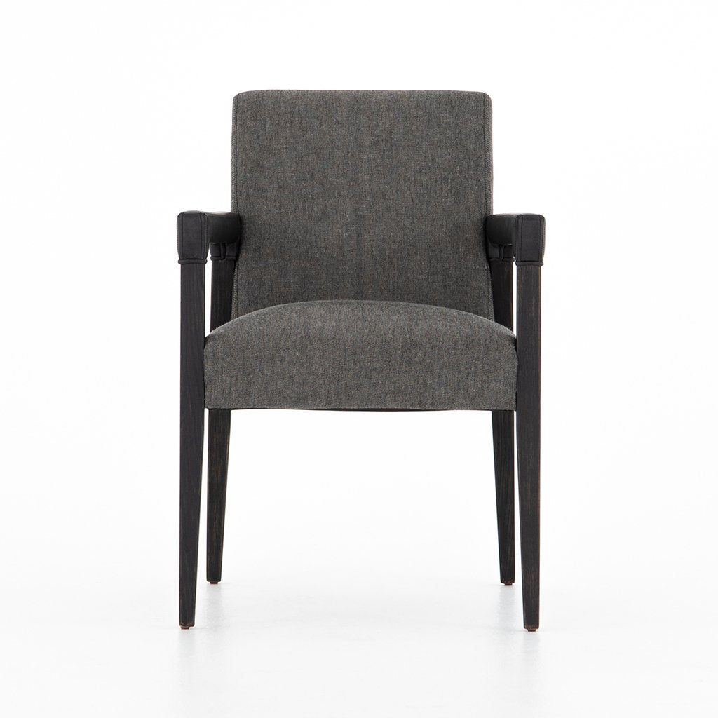 Reuben Ives Black Dining Chair - Four Hands Furniture CABT-9174068-309 Front View