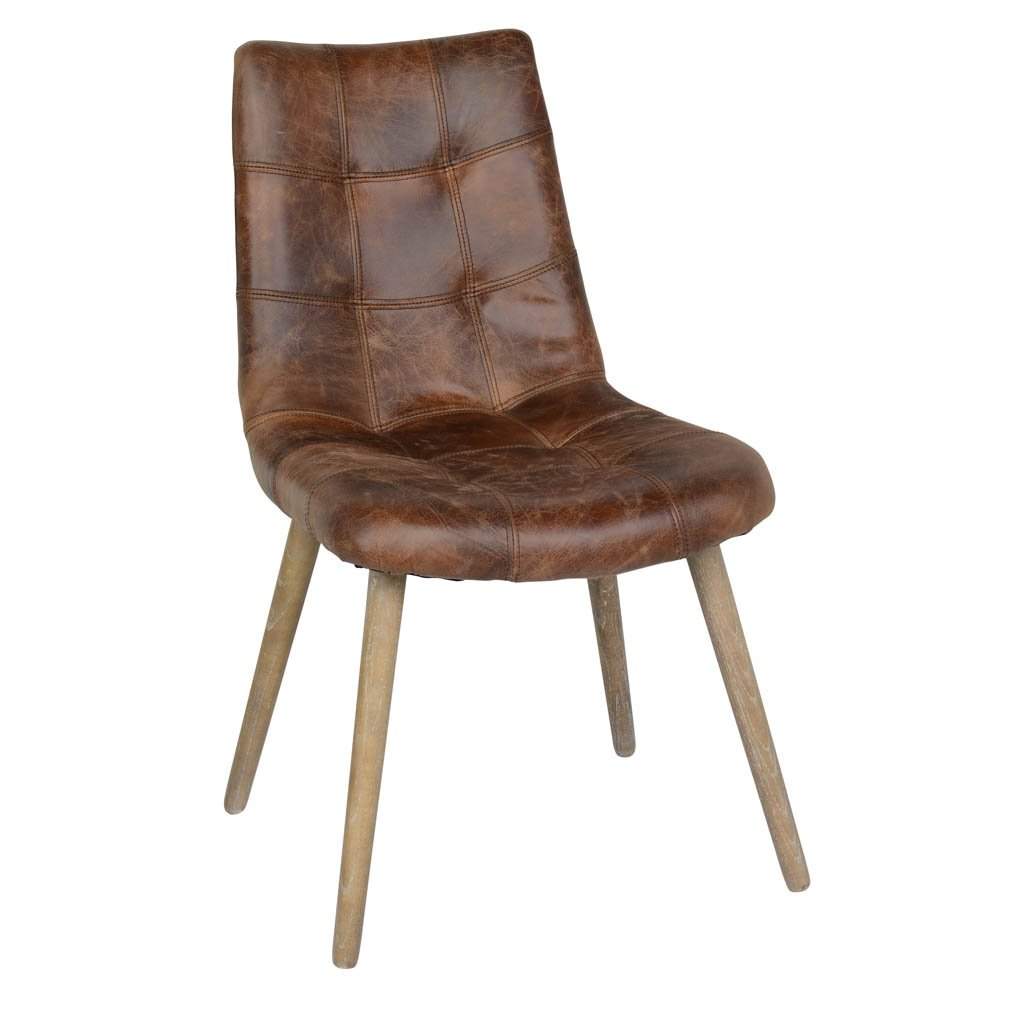 Roosevelt Brown Leather Side Chair