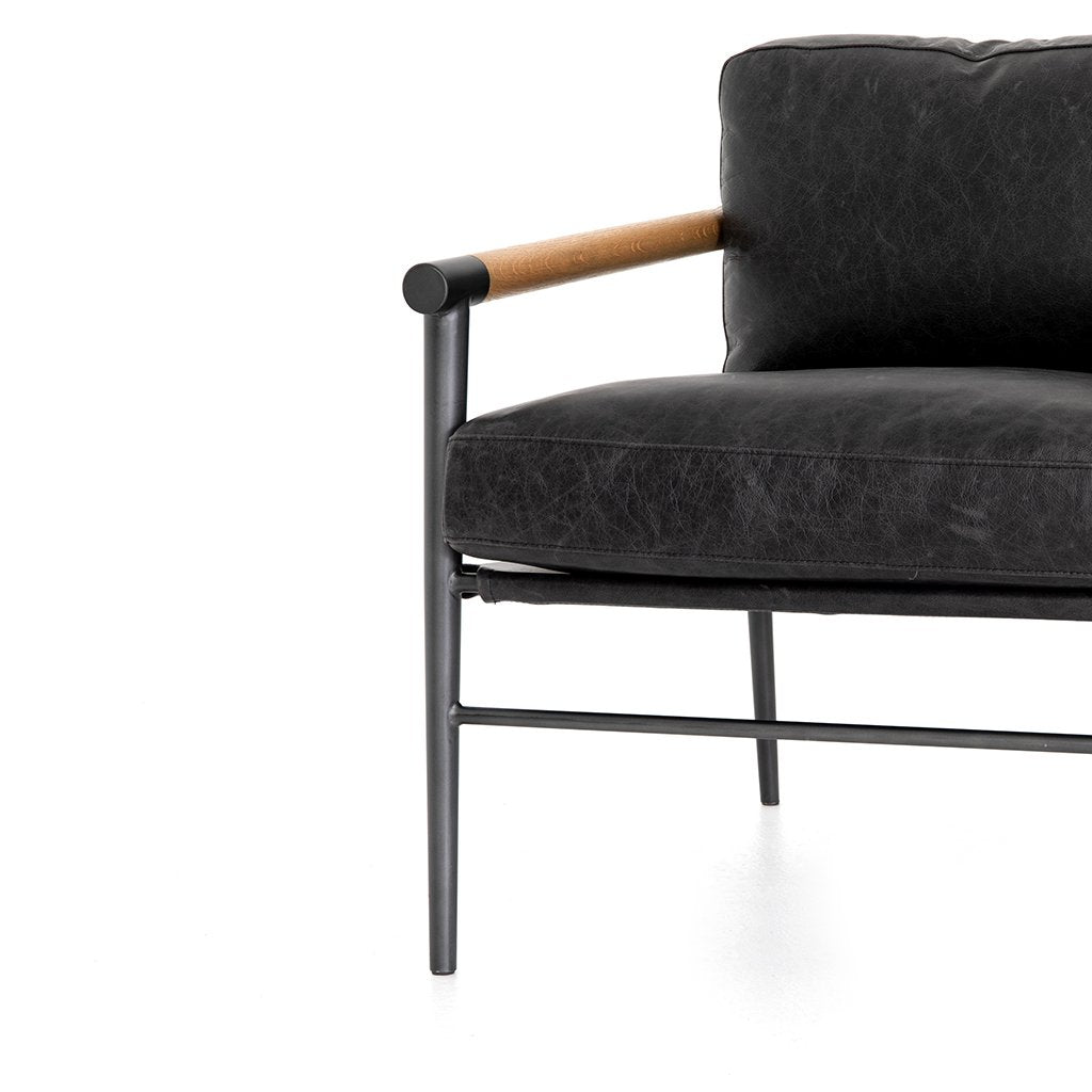 Rowen Black Leather Lounge Chair