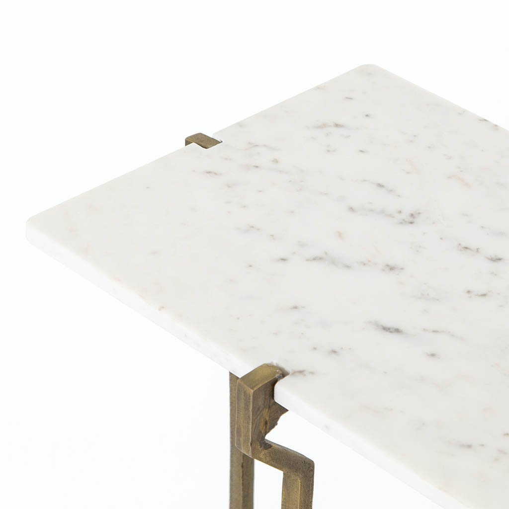 Rumi White Marble End Table IMAR-178A