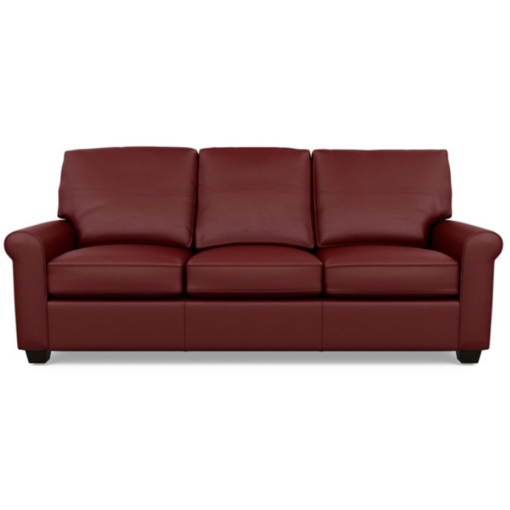 Savoy Leather Sofa by American Leather in Bali Red Hibiscus