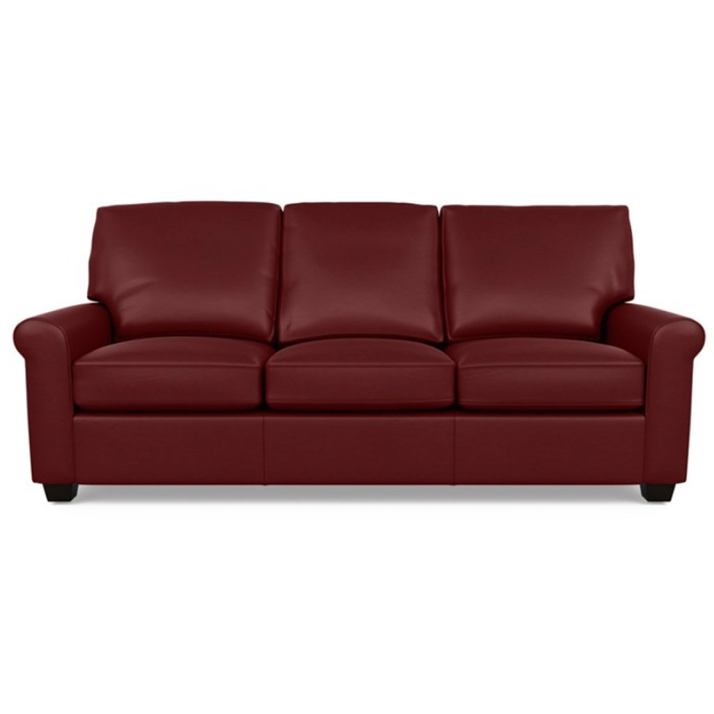 Savoy Leather Sofa by American Leather in Capri Poppy