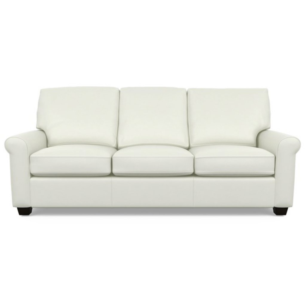 Savoy Leather Sofa by American Leather in Capri White