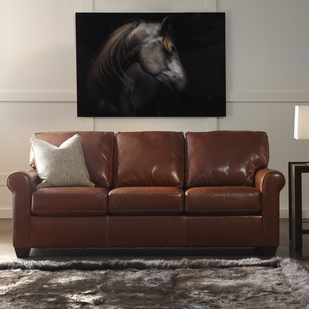 Savoy three seat leather sofa by American Leather