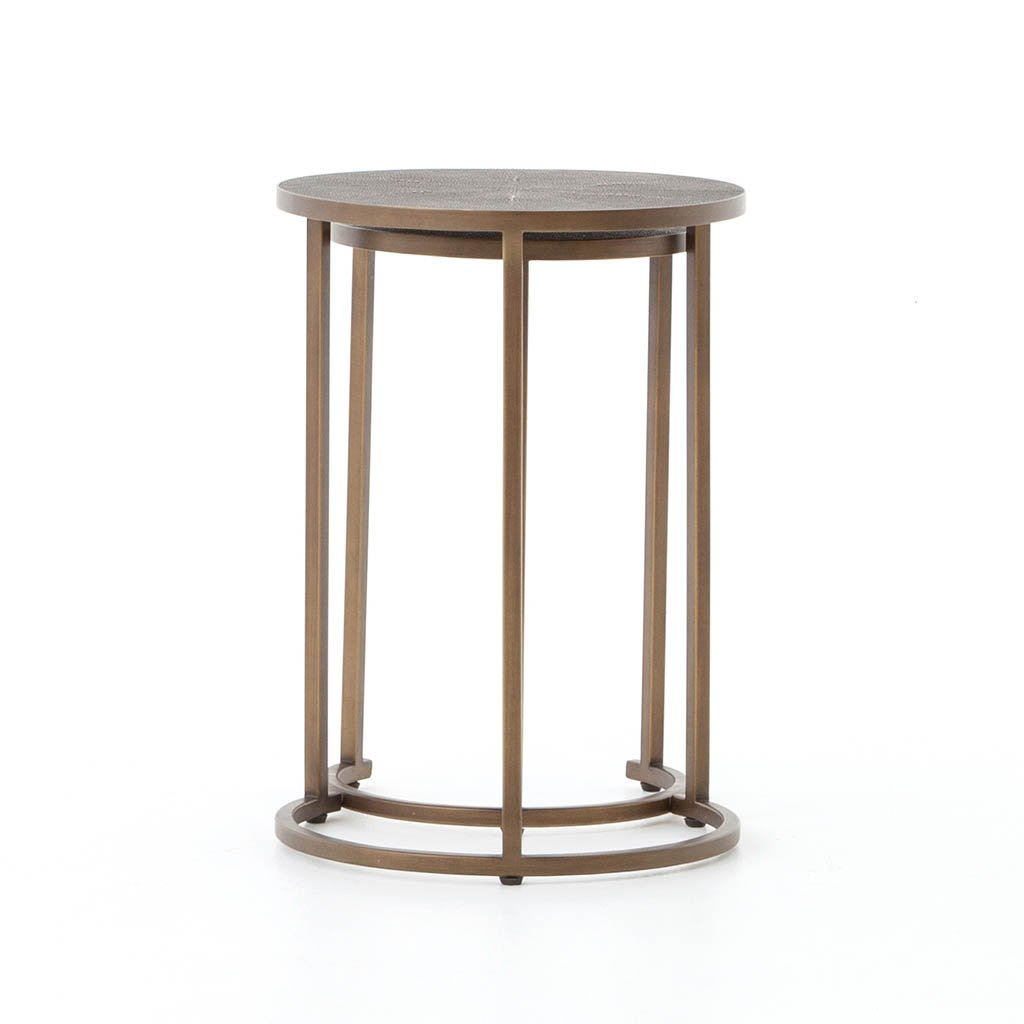 VBEN-004 Shagreen Nesting Table - Antique Brass