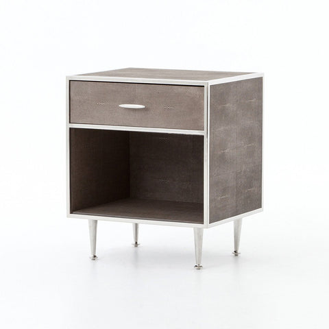 Shagreen Bedside Table - Stainless