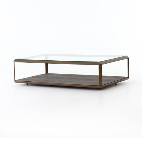 Shagreen Shadow Box Coffee Table - Antique Brass