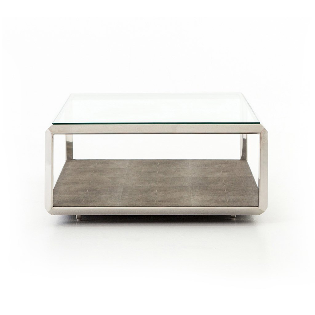 Shagreen and glass coffee table