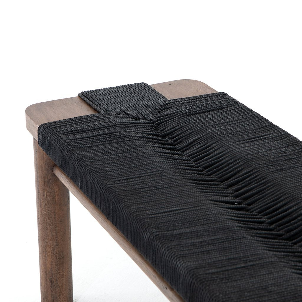 Shona Accent Bench - Matte Black JLAN-121C Seat Detail