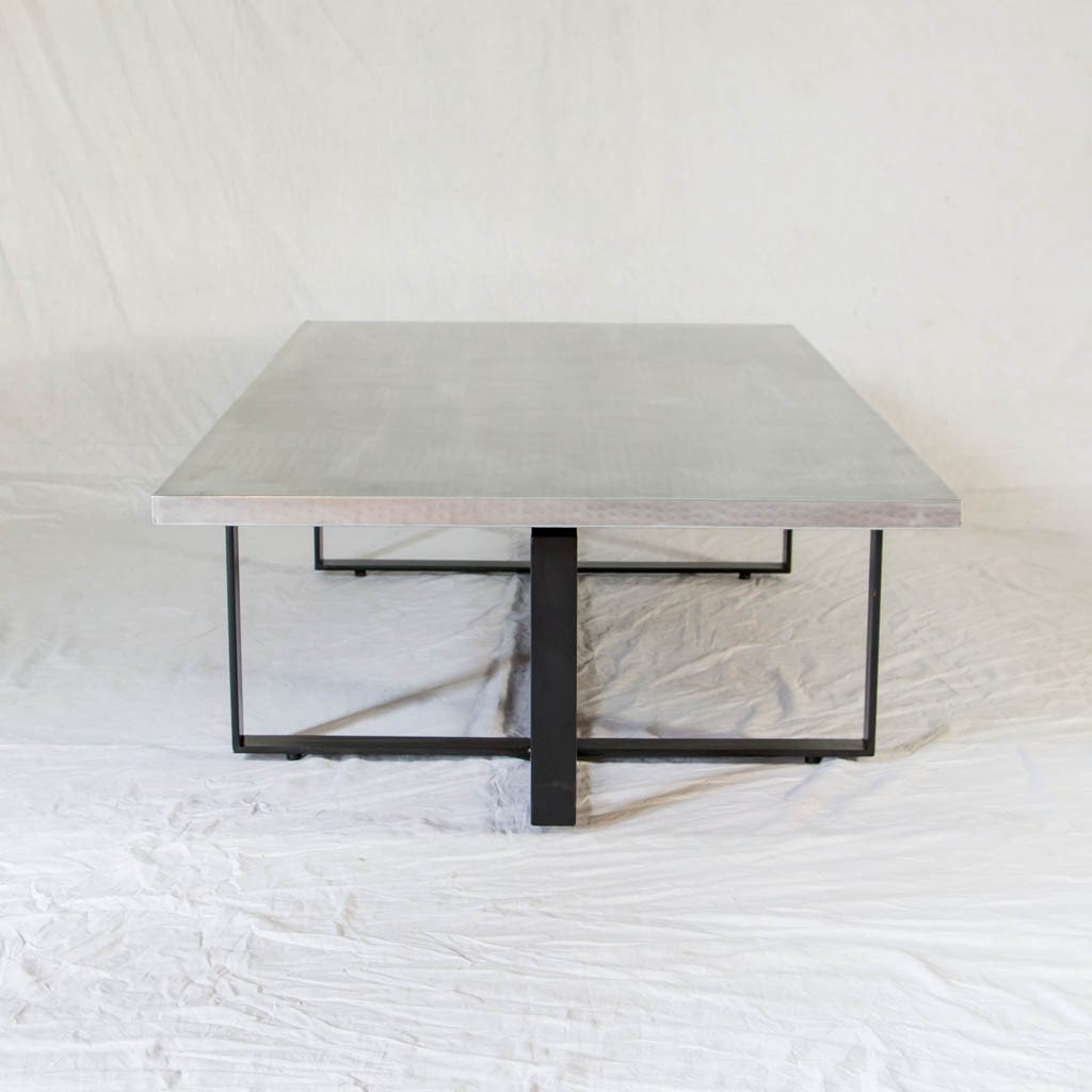 silver and black contemporary coffee table