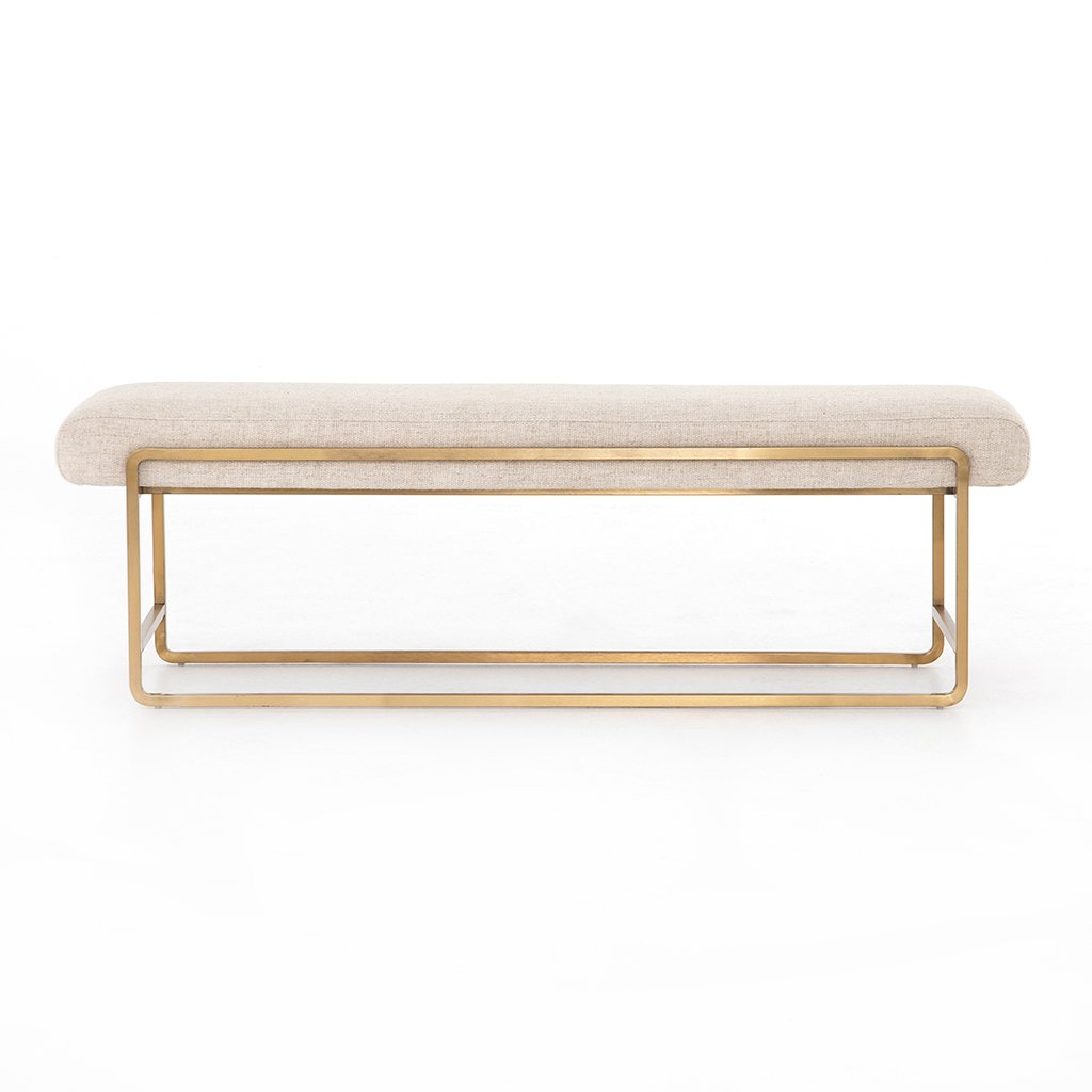 Sled Upholstered Accent Bench - Thames Cream Side View
