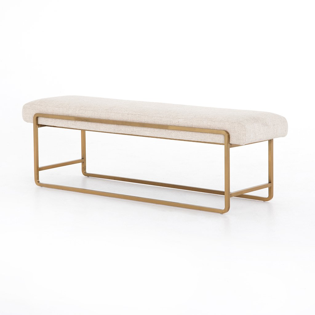 Sled Upholstered Accent Bench - Thames Cream