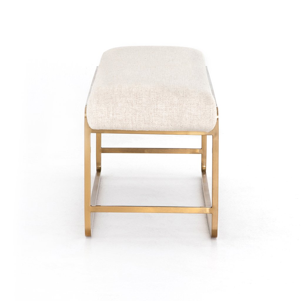 Sled Upholstered Accent Bench - Thames Cream End View