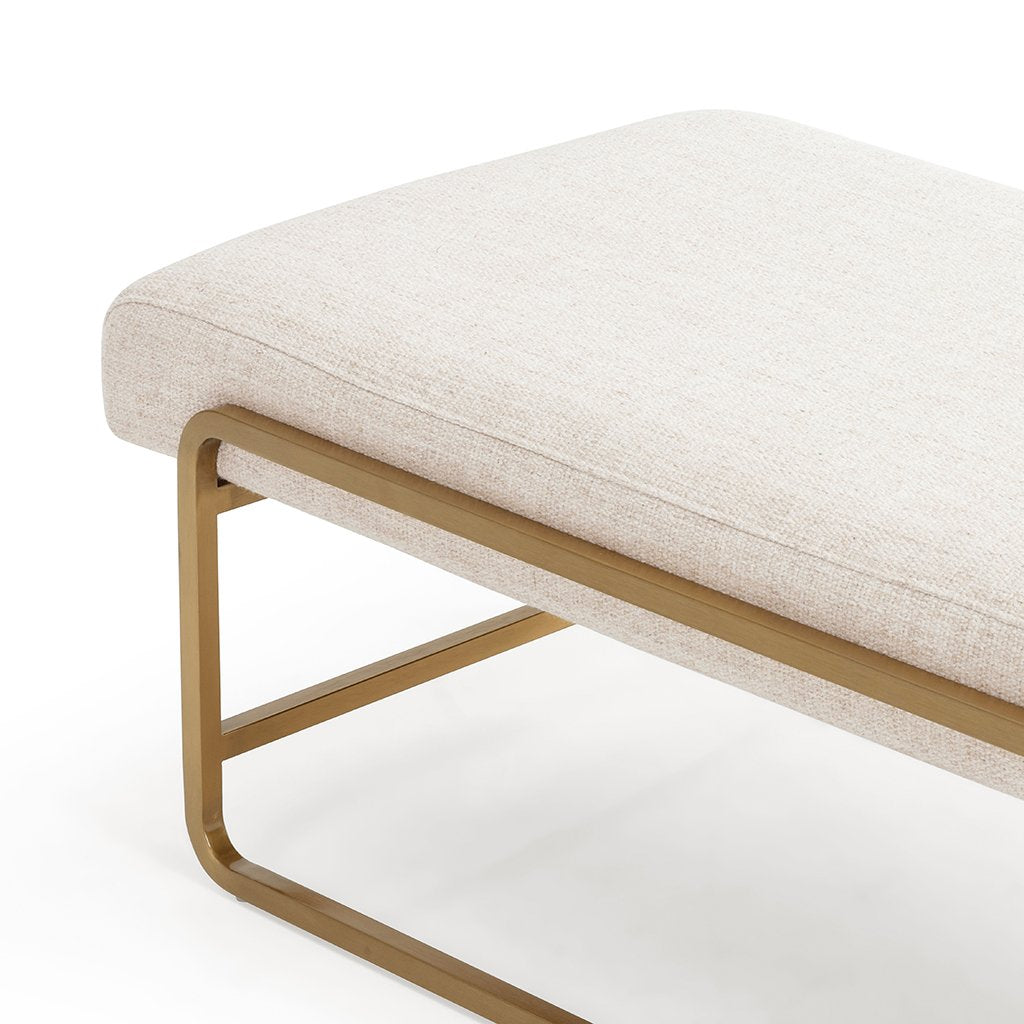 Sled Upholstered Accent Bench - Thames Cream Seat Detail