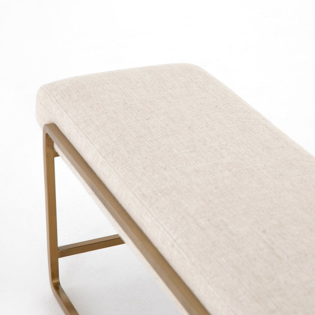 Sled Upholstered Accent Bench - Thames Cream Frame Detail